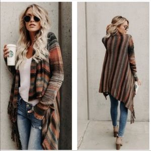 Sweaters - Poncho cardigan wrap tassels boho tops sweater